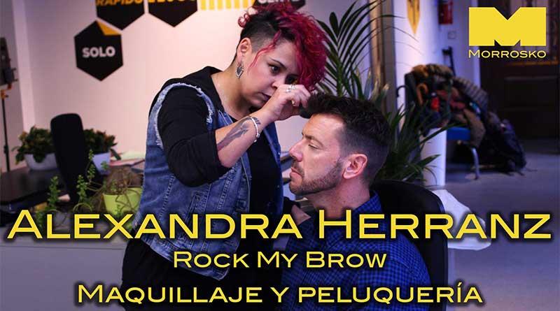 Alexandra Herranz (Rock My Brow) maquilla a uno de los actores de Morrosko